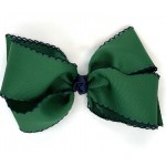 Green (Forest Green) / Dark Navy Pico Stitch Bow - 7 Inch