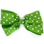 Green (Apple Green) Polka Dots Bow - 7 Inch