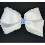 White / (312 Blue) Pico Stitch Bow - 7 Inch