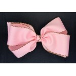 Pink (Light Pink) / Brown Pico Stitch Bow - 7 Inch