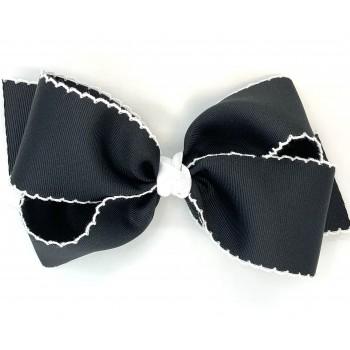 Black / White Pico Stitch Bow - 7 Inch