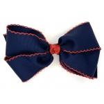Blue (Dark Navy) / Red Pico Stitch Bow - 7 Inch