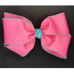 Pink (Hot Pink) / Light Turquoise Pico Stitch Bow - 7 Inch