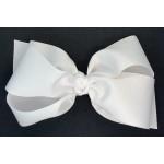 White Grosgrain Bow - 7 Inch