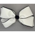 White / Dark Navy Pico Stitch Bow - 7 Inch