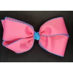 Pink (Hot Pink) / Turquoise Pico Stitch Bow - 7 Inch