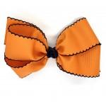 Orange / Dark Navy Pico Stitch Bow - 7 Inch