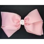 Pink (Light Pink) / White Pico Stitch Bow - 7 Inch