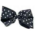 Black Polka Dots Bow - 7 Inch