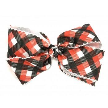 Black-Red Plaid / White Pico Stitch Bow - 7 Inch