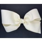 White (Antique White) Grosgrain Bow - 7 Inch
