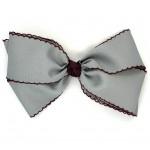 Gray / Burgundy Pico Stitch Bow - 7 Inch