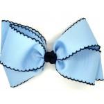 Blue (312 Blue) / Dark Navy Pico Stitch Bow - 7 Inch