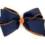 Blue (Dark Navy) / Orange Pico Stitch Bow - 7 Inch