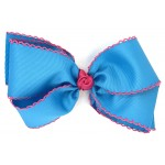 Blue (Turquoise) / Shocking Pink Pico Stitch Bow - 7 Inch