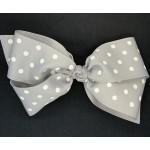 Gray Polka Dots Bow - 7 Inch