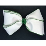 White / Forest Green Pico Stitch Bow - 7 Inch