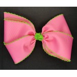 Pink (Hot Pink) / Apple Green Pico Stitch Bow - 7 Inch