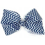 Blue (Dark Navy) Chevron Bow - 7 Inch