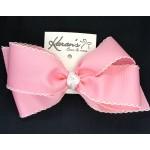 Pink (150 Pink) / White Pico Stitch Bow - 7 Inch