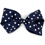Blue (Dark Navy) Polka Dots Bow - 7 Inch