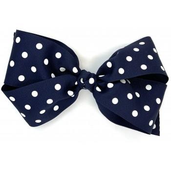Blue (Dark Navy) Polka Dots Bow - 7 Inch