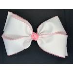 White (150 Pink) Pico Stitch Bow - 7 Inch