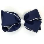 Blue (Dark Navy) / White Pico Stitch Bow - 7 Inch