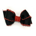 Black / Red Pico Stitch Bow - 3 inch
