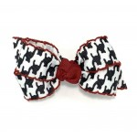 Black (Houndstooth) Cranberry Pico Stitch Bow - 3 inch