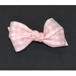 Pink (Light Pink) Gingham Satin Bow - 3 Inch