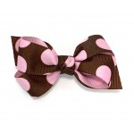 Brown / Hot Pink Jumbo Polka Dots Bow - 3 inch