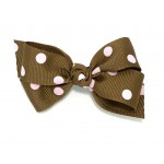 Brown / Light Pink Polka Dots Bow -3 inch