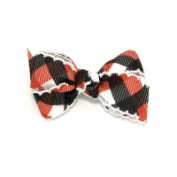 Black-Red Plaid / White Pico Stitch Bow - 3 inch