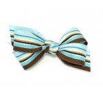 Blue / Brown Stripe Grosgrain - 3 inch