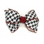Black (Houndstooth) Cranberry Pico Stitch Bow - 4 Inch