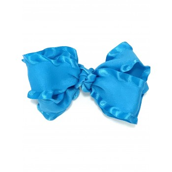 Blue (Turquoise) Double Ruffle Bow - 4 Inch