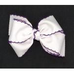 White / Purple Pico Stitch Bow - 4 Inch