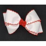 White / Red Pico Stitch Bow - 4 Inch