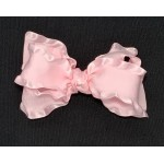 Pink (Light Pink) Double Ruffle Bow - 4 Inch