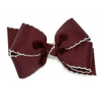 Red (Burgundy) / Gray Pico Stitch Bow - 4 Inch