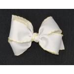 White / Baby Maize Pico Stitch Bow - 4 Inch