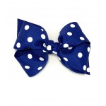 Blue (Century Blue) Polka Dots Bow - 4 inch