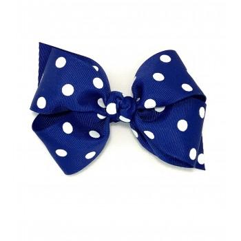 Blue (Century Blue) Polka Dots Bow - 4 inch