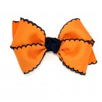 Orange / Dark Navy Pico Stitch Bow - 4 Inch