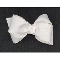 White / White Pico Stitch Bow - 4 Inch