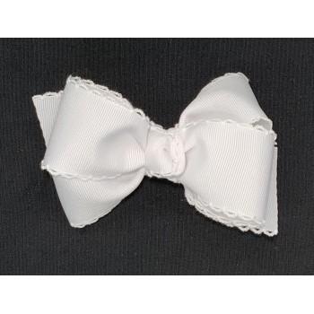 White / White Pico Stitch Bow - 4 Inch