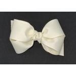 White (Antique White) Grosgrain Bow - 4 Inch