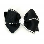Black / White Pico Stitch Bow - 4 Inch