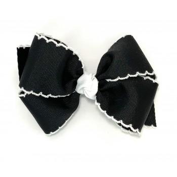 Black / White Pico Stitch Bow - 4 Inch